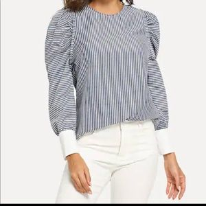 Blue and White Vertical Stripe Puff Sleeve Blouse